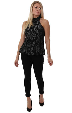 Veronica M Tops Halter Lace Detail Black High Neck Open Back Black Holiday Dressy Top