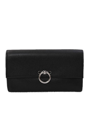 REBECCA MINKOFF HANDBAGS GENUINE SMOOTH LEATHER FOLD OVER BLACK JEAN CLUTCH