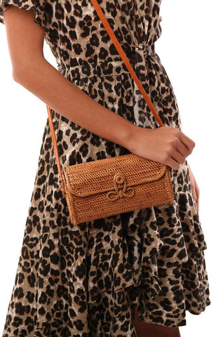 HANDBAGS CROSSBODY WOVEN RATTAN TAN FESTIVAL CLUTCH BAG