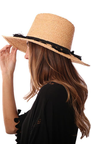 MICHAEL STARS HATS STRAW BLACK TASSEL TRIM BEACH HAT