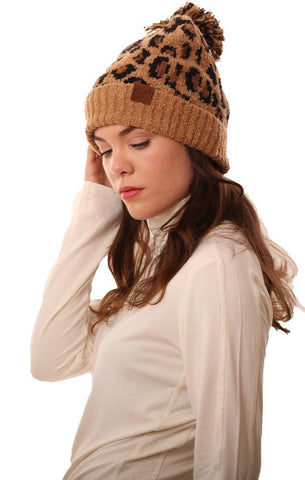 COZY KNIT POM POM FOLDOVER LEOPARD PRINT TAN WARM WINTER BEANIE