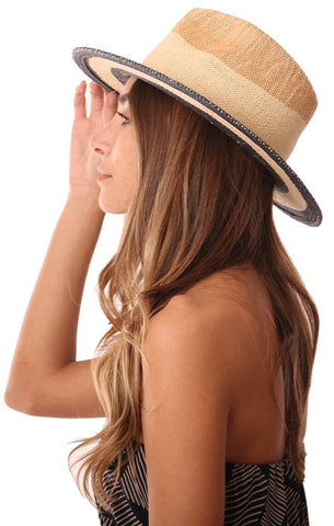 MICHAEL STARS HATS STRAW STRIPED WOVEN BEACH HAT