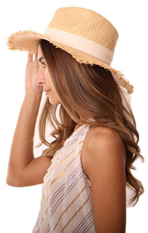 MICHAEL STARS HATS IVORY BANDED WOVEN STRAW BEACH HAT