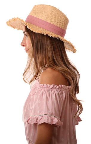 MICHAEL STARS HATS ROSE BANDED WOVEN STRAW BEACH HAT
