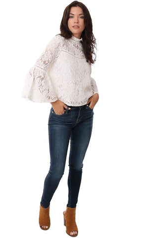 BB Dakota Tops Lace Bell Sleeve Winter White High Neck Party Holiday Blouse