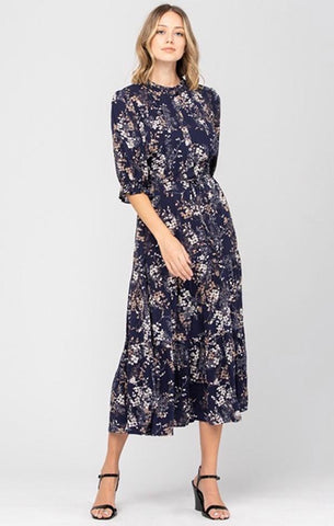 TILLIE TIERED MIDI DRESS CALISTA NAVY FLORAL HOLIDAY DRESSES