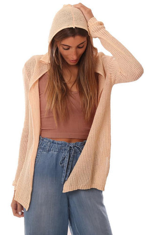 CARDIGANS HOODED OPEN FRONT LIGHTWEIGHT KNIT BEIGE CARDI SWEATER