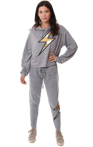 VINTAGE HAVANA HOODIES LIGHTNING BOLT GRAPHIC RELAXED PULLOVER GREY HOODED SWEATSHIRT