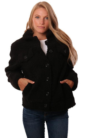 CENTRAL PARK WEST JACKETS BUTTON UP COZY FAUX FUR BLACK FALL TEDDY COAT