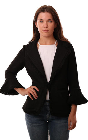 CUPCAKES AND CASHMERE JACKETS BELL SLEEVE CUFF FRINGE EDGE BLACK BOUCLE JACKET