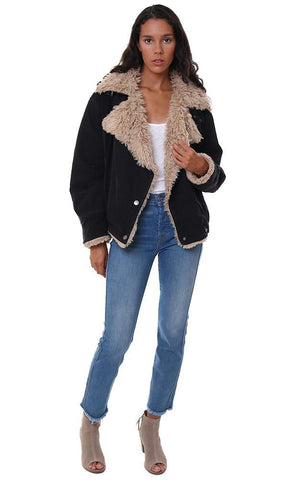 FREE PEOPLE JACKETS FAUX FUR LINED COLLARED BLACK FALL COAT