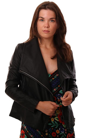 BB DAKOTA JACKETS ASYMMETRICAL ZIP UP FAUX LEATHER BLACK EDGY MOTO JACKET