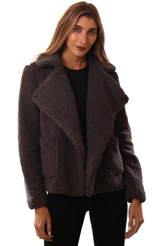 BB DAKOTA JACKETS COLLARED FAUX FUR CHARCOAL COZY TEDDY COAT