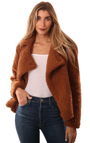 BB DAKOTA JACKETS COLLARED FAUX FUR BROWN COZY TEDDY COAT
