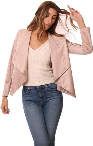 BB DAKOTA JACKETS REVERSIBLE FAUX LEATHER SUEDE PINK DRAPE COLLAR JACKET