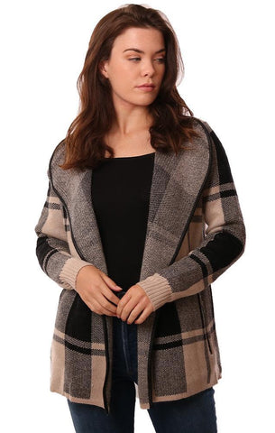 METRIC CARDIGANS LEATHER TRIMMED PLAID PRINT OPEN FRONT COZY JACKET