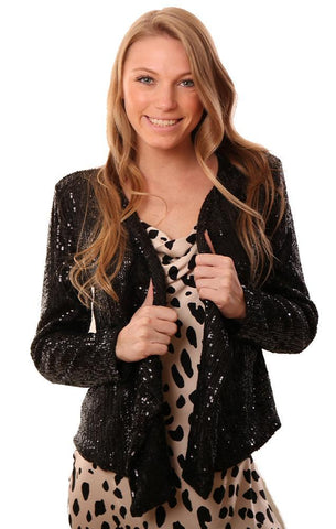 JACKETS DRAPE FRONT LONG SLEEVE SEQUIN BLACK HOLIDAY JACKET