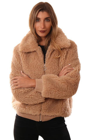 HEARTLOOM JACKETS ZIP UP COZY FAUX FUR TAN COLLARED TEDDY COAT