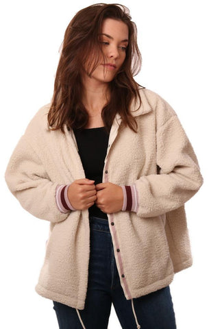 GREY STATE JACKETS BUTTON UP PINK TRIM COZY IVORY TEDDY COAT