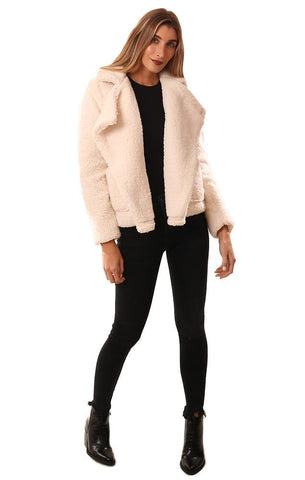 BB DAKOTA JACKETS COLLARED FAUX FUR IVORY COZY TEDDY COAT