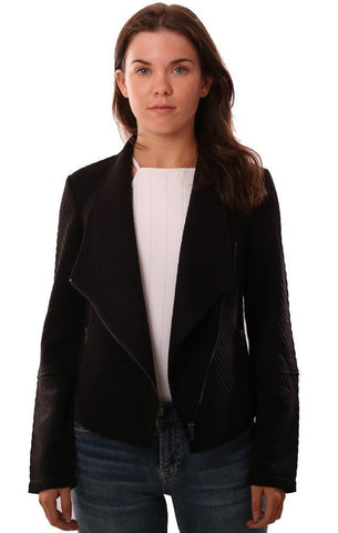 BB DAKOTA JACKETS ASYMMETRICAL ZIP FRONT LONG SLEEVE TEXTURED BLACK JACKET