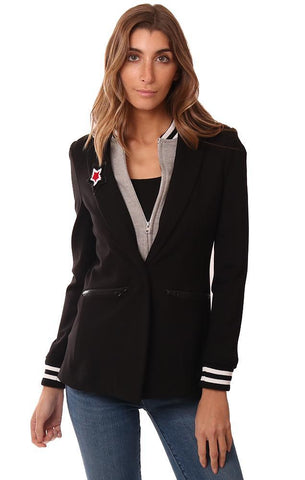 CENTRAL PARK WEST JACKETS LAYERED ZIP UP ATHLETIC INSERT BLACK BLAZER