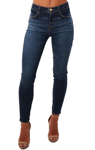 ALANA HIGH RISE CROP J BRAND JEANS ARCADE BLUE DENIM ON SALE