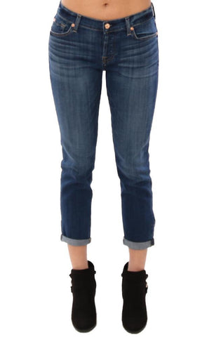 7 FOR ALL MANKIND DENIM SKINNY CUFFED LIGHT WASH BOYFRIEND JEANS