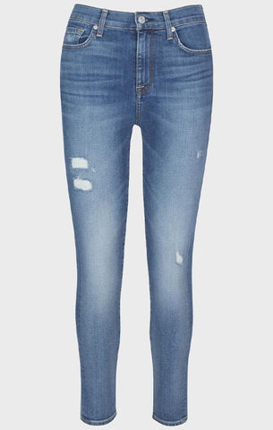 HIGH WAIST ANKLE SKINNY SEVEN FOR ALL MANKIND DISTRESSED JEANS