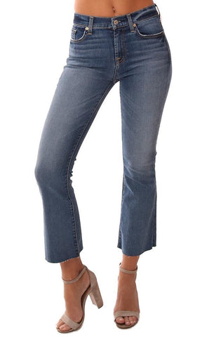 7 FOR ALL MANKIND DENIM HIGH WAIST LIGHT WASH ANKLE FRAY HEM BOOT CUT JEANS