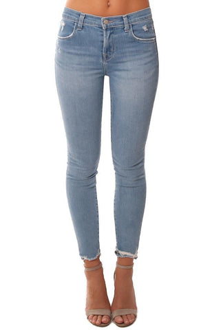 J BRAND DENIM HIGH RISE SKINNY DESTROYED FRAYED ANKLE BLUE JEAN