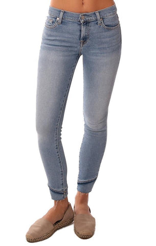 7 FOR ALL MANKIND DENIM ANKLE FRAY HEM SKINNY BLUE JEANS