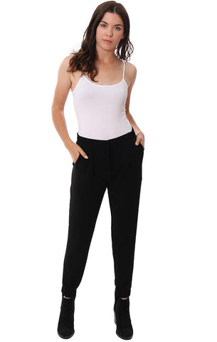 Veronica M Joggers Front Pocket Black Silky Causal Or Dressy Pant