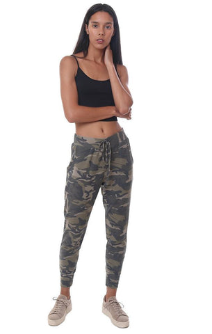 VERONICA M JOGGERS CAMO PRINTED GREEN COZY SWEATPANT
