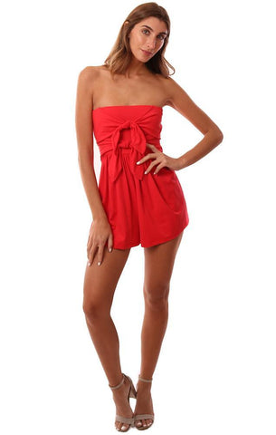 SUSANA MONACO ROMPERS STRAPLESS TIE FRONT CHIC RED JUMPER