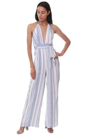 HONEY BELLE JUMPSUITS STRIPED HALTER NECK WIDE LEG BELTED JUMPSUIT