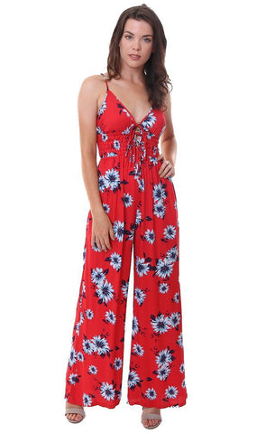 YUMI KIM JUMPSUIT FLORAL SLEEVELESS SMOCKED WAIST RED JUMPER