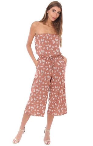 VERONICA M JUMPSUITS STRAPLESS CROPPED CULOTTE FLOWY RUST PRINTED JUMPER