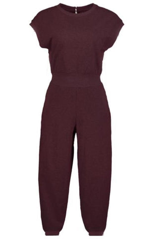 KEEP IT COZY JUMPSUIT BISHOP AND YOUNG BURGUNDY HOLIDAY JUMPSUIT