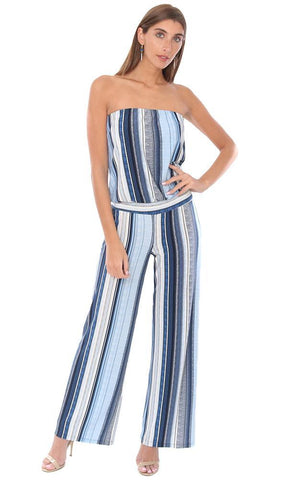VERONICA M JUMPSUITS STRAPLESS DROP WAIST STRIPED LONG WIDE LEG BLUE CHIC JUMPSUIT