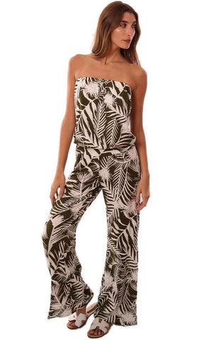 VERONICA M JUMPSUITS STRAPLESS TROPICAL PALM PRINTED WIDE LEG JUMPSUIT