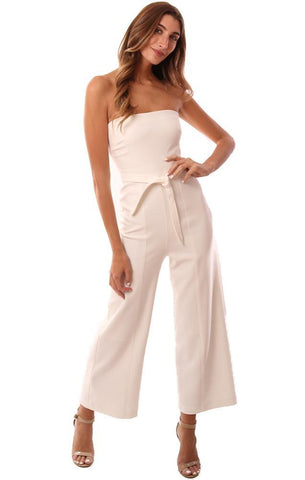 LIKELY JUMPSUITS BELTED WAIST STRAPLESS WIDE LEG CHIC WHITE JUMPSUIT
