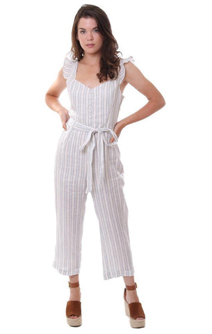 HEARTLOOM JUMPSUITS STRIPED RUFFLE SLEEVE BUTTON FRONT CROP CUFFED JUMPER