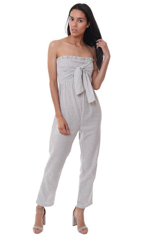 STORIA JUMPSUITS STRAPLESS GREY STRIPED TIE FRONT JUMPSUIT