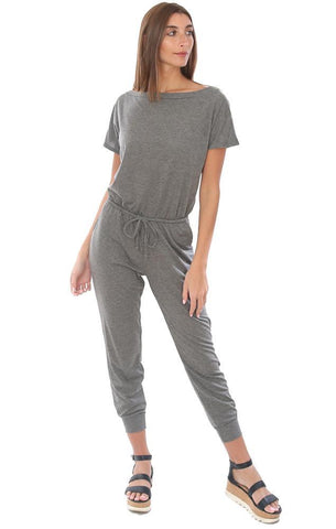 VERONICA M JUMPSUITS SHORT SLEEVE DRAWSTRING WAIST TERRY GREY COMFY JUMPSUIT