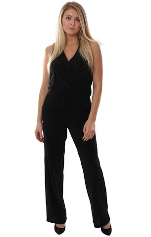Veronica M Jumpsuit V Neck Sleeveless Sparkle Black Holiday Jumpsuits