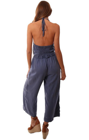 BELLA DAHL JUMPSUITS HALTER NECK OPEN BACK WIDE LEG CROPPED BLUE JUMPER