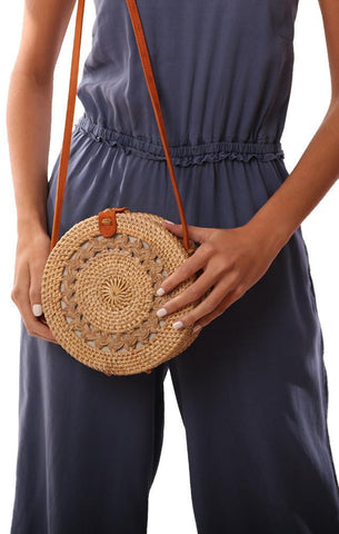 HANDBAGS WOVEN DETAILED RATTAN LEATHER STRAP ROUND CROSSBODY BAG