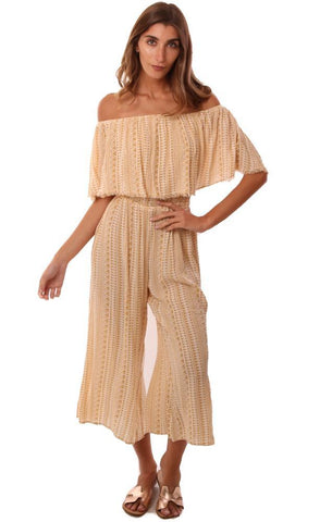 JUMPSUITS OFF THE SHOULDER TRIBAL PRINTED CROP WIDE LEG YELLOW JUMPER