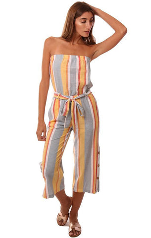 VINTAGE HAVANA JUMPSUITS STRAPLESS BELTED CROPPED STRIPED ROMPER
